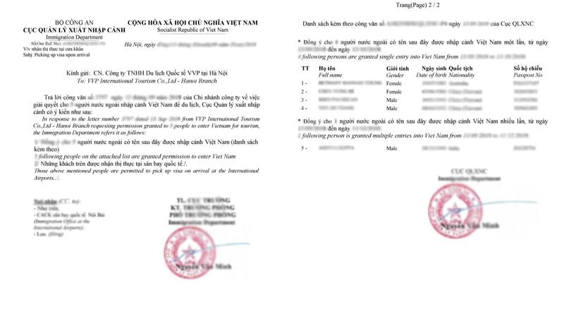 落地簽證許可函示意圖,第二張除了有個人申請資料,還有其他共同申辦人的資料(source by medium.com)